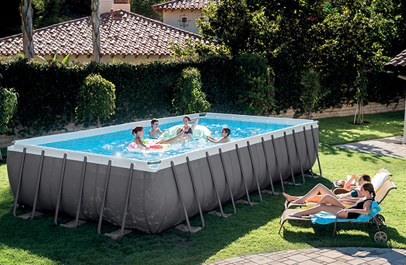 piscine tubulaire rectangulaire intex 7 32x3 66x1 32 m filtration. Black Bedroom Furniture Sets. Home Design Ideas